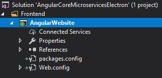 Solution structure. Frontend folder with AngularWebsite and packages.config and web.config inside.