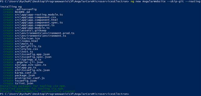 """ng new AngularWebsite --ski-git --routing"" command run in powershell finished successfully"