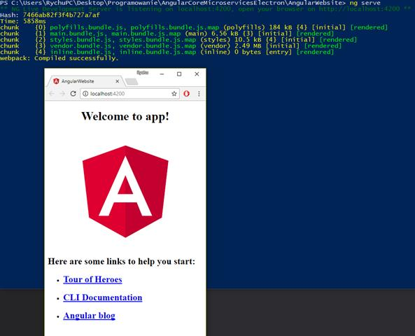 """ng serve"" command successfully run in powershell and angular app launched in chrome"