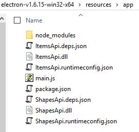 Content of electron/resources/app: node_modules folder, itemsApi.deps.json, ItemsApi.dll, ItemsApi.runtimeconfig.json, main.js, package.json, ShapesApi.deps.json, ShapesApi.dll, ShapesApi.runtimeconfig.json