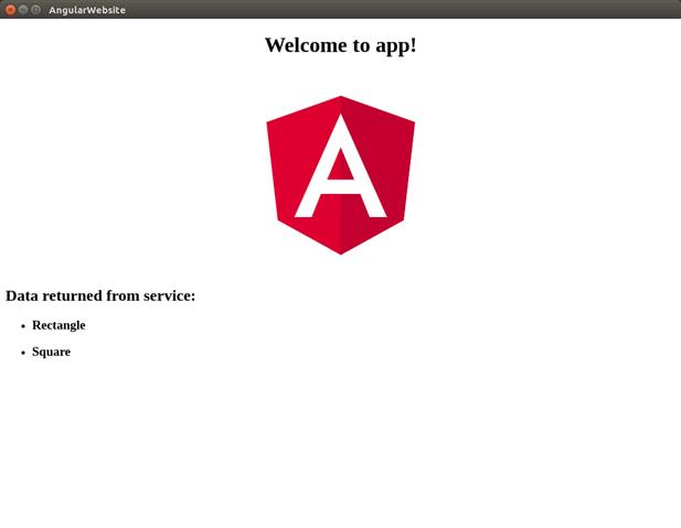 Screenshot showing AngularWebsite standalone run in Ubuntu
