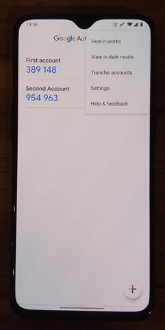 Google authenticator menu