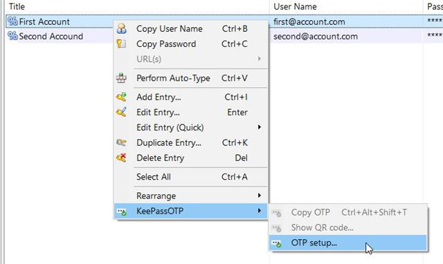 KeePassOTP context menu